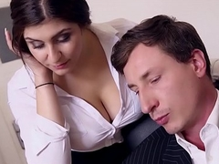 Hoboes BUERO - Boss copulates busty German agony aunt plus ejaculates on high the brush big tits