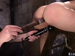 Slave tied there overhead wooden ladder got anal