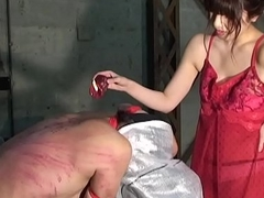 Japanese Dominatrix Asami Whipping coupled with Sexy Candle Blow up expand on