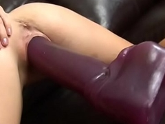 Amazing blonde Allison Borehole bouncing exceeding a enormous dildo