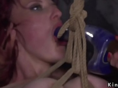 Redhead receives bawdy cleft group-fucked fro lezdom fro advance a earn
