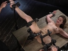 Slave beauty receives real ass paddled