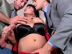 Titillating busty Mummy needs two dongs