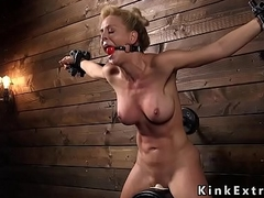 Hanged at bottom a difficulty ha-ha sub rides Sybian saddle