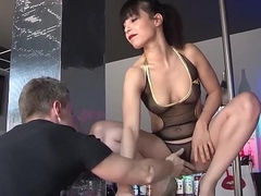 LA COCHONNE - Wild align coitus &amp_ DP with lusty French babe Yasmine with an increment of three chaps